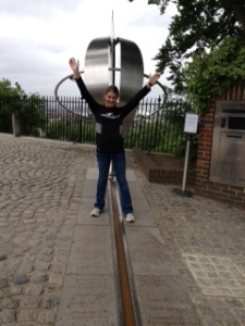 Straddling the Prime Meridian in Greenwich...