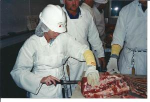 Here I am, many years ago, trying to learn how to cut up beef in my search to understand the entire beef production cycle...