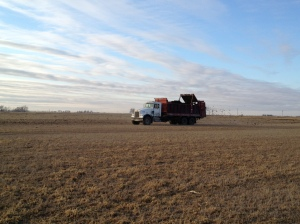 The manure truck transports the fertilizer from the feed yard to the appropriate field, and then spreads it on the land at an agronomic rate.
