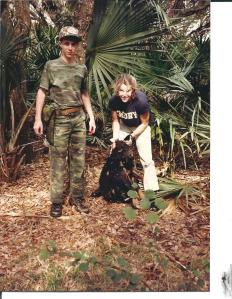 "A few years later, my brother ""guided"" me as I shot my first wild hog with a 12 gauge..."