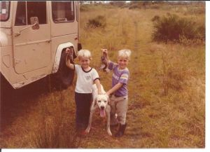 "My brother and I, many many years ago out at the ""hunting camp""..."