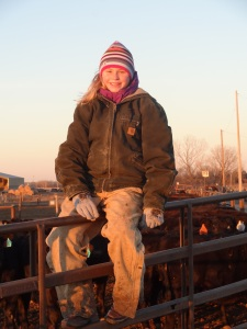 Six years later, she spends many sunrises with me helping to exercise calves at the feed yard...