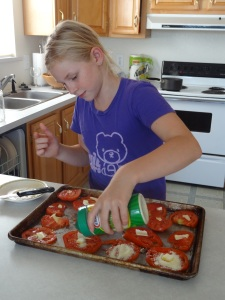 One of the girls' favorites are sliced home grown tomatoes with a touch of butter and Parmesan cheese...