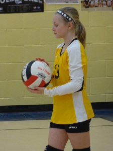 Her team won 7 of 8 games to win the tournament!  Her awesome serve earned 17 points in a row during one of the games :)
