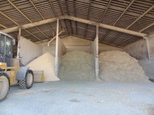 Rolled corn, ground alfalfa, and ground corn stalks inside of our feeding barn...
