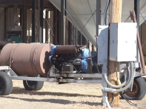 We have two generators at the feed yard (one is pictured here) to ensure that we can continue to deliver feed and water in the case of a power outage...