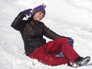 My favorite teenager who kept loosing her sled on the way down the hill...