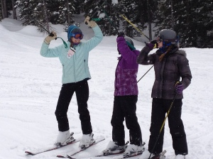 My two oldest and I pausing for a moment of seriousness on the slopes...