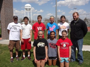 The Cozad Junior High athletes that competed last weekend in the State track meet.  My favorite teenager kneeling in the front row in the red shirt.