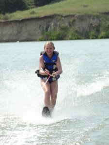 My favorite Cowgirl/Chef slalom water-skied for the first time.  Go Meg!