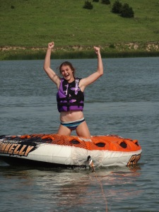 My favorite teenager used her push-up strengthened arms to push her sisters off of the tube...