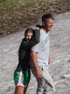 When you get done running, you can cool off in a snow drift.  And, then warm your hands back up on your daddy's neck...