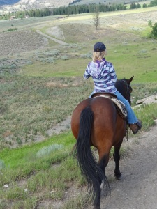 At the end of the 12 mile round trip ride--she even managed to help catch a few trout on beautiful Crandall Creek...