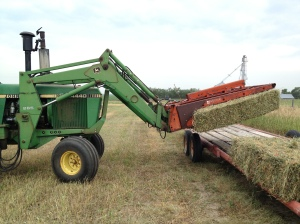 The tractor and hay implement picks up the sets of 8 bales and places them on the trailer...