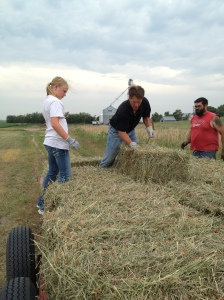 Megan and Matt helping to place the bales...