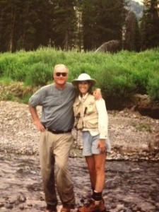 Dad and I, taking a moment together while fly fishing in Crandall Creek...